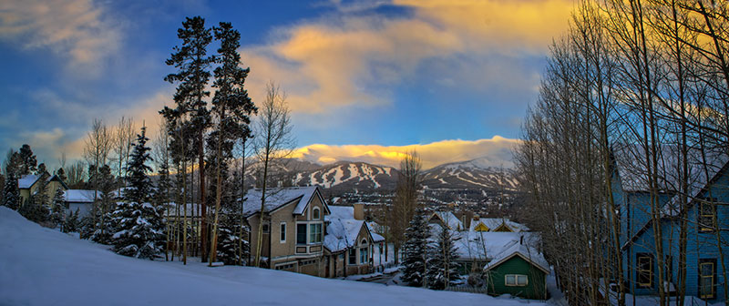 Winter sunset over Breckenridge