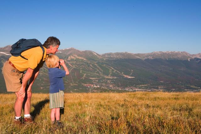 Father and son on hike in Breckenridge Colorado