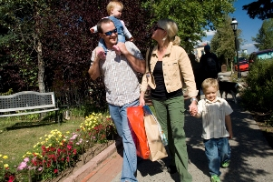 Family walking in Breckenridge Colorado