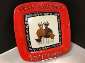 Paint Your Own Reindeer Family Holiday Platter @ Ready Paint Fire