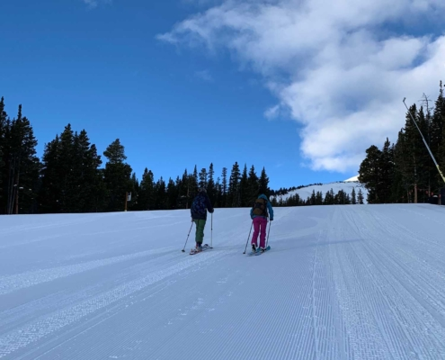 Uphill skiing in Breck