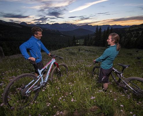 Mountain bikers enjoy sunset in Breckenridge